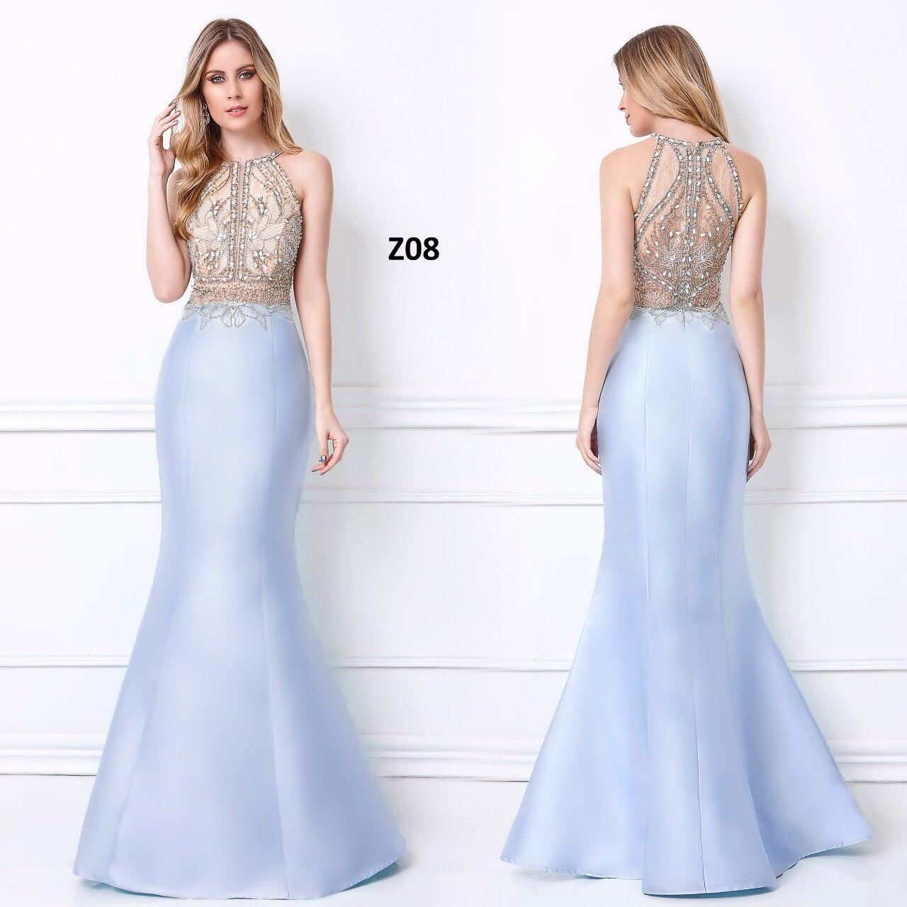 Vestido de festa longo estilo sereia azul