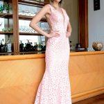 Vestido de Festa Sexy Rosa Sereia em Renda Rebordada