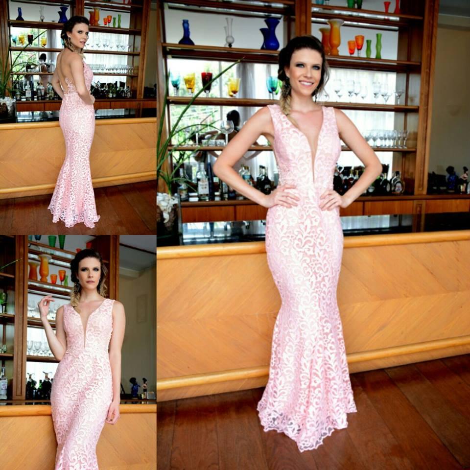 Bolsa De Festa Para Vestido Rosa : Vestido de festa sexy rosa sereia em renda rebordada