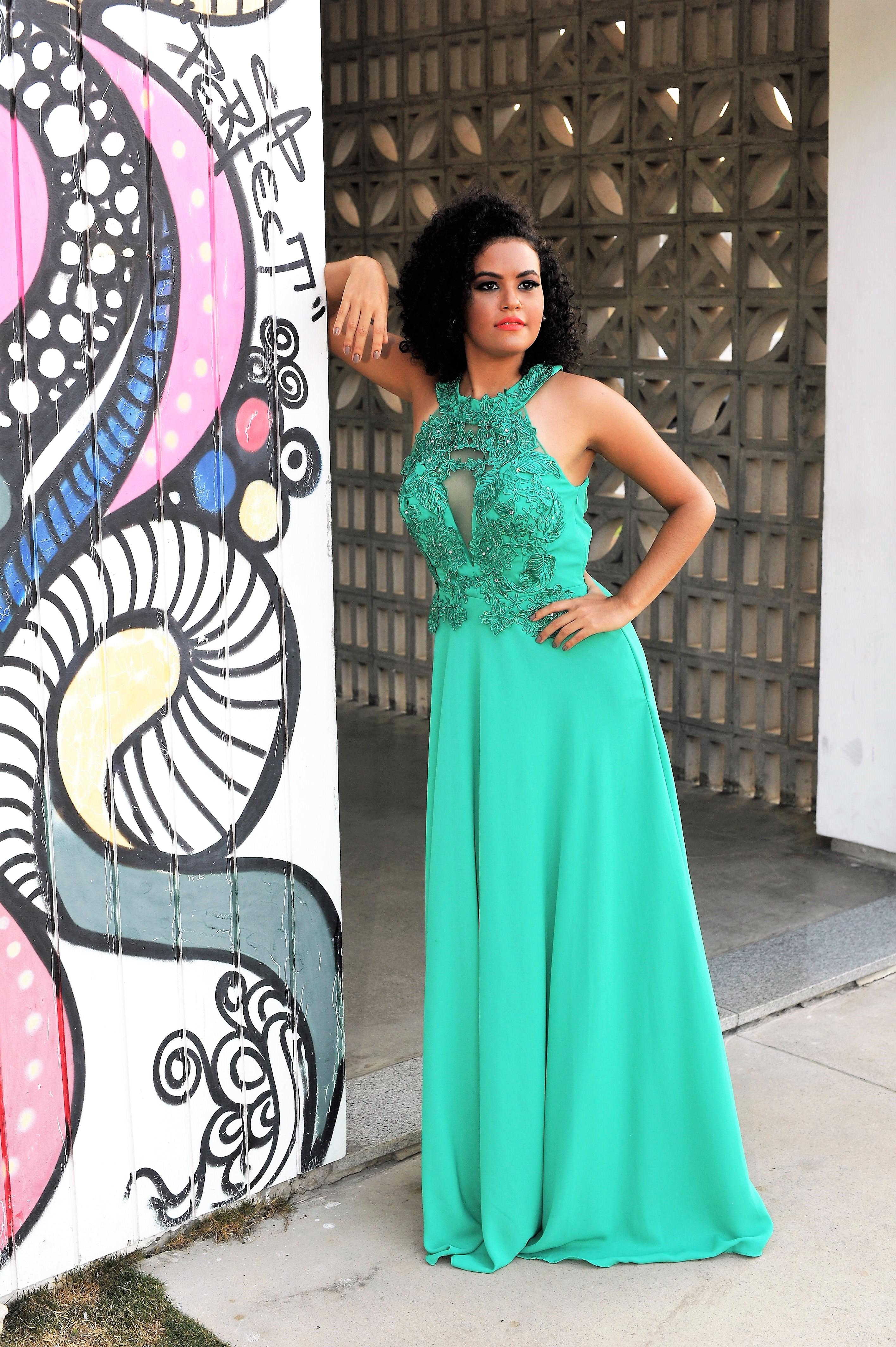Vestido de Festa Verde Esmeralda Bordado - Fino Traje Moda Festa