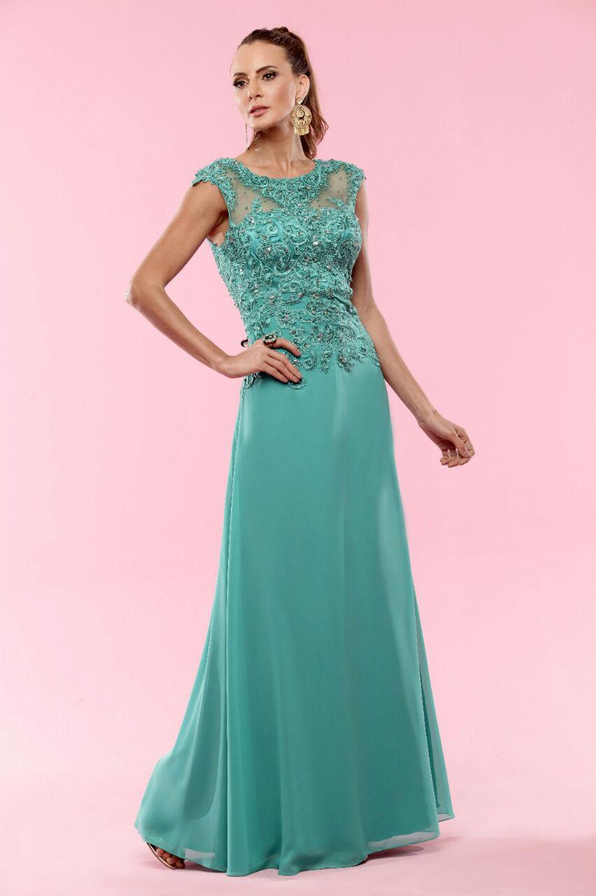 331096e0e Vestido de Festa Verde Esmeralda com Corpete Bordado – Aluguel de ...