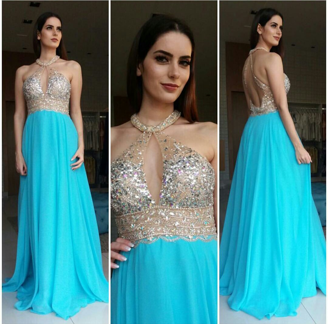 Vestido de Festa Magnífico Azul Tiffany - Fino Traje Moda Festa