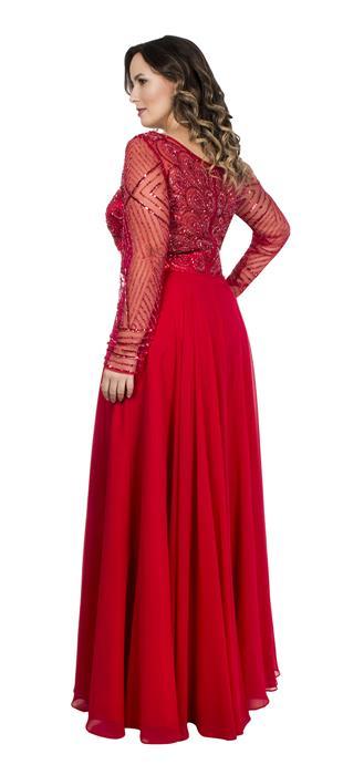 Vestido Bordado Mangas Longas Vermelho Aluguel De Vestidos