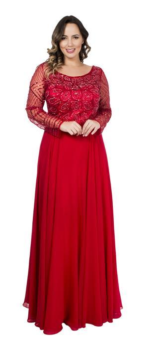7214cd7d1d Vestido bordado mangas longas vermelho – Aluguel de Vestidos de ...