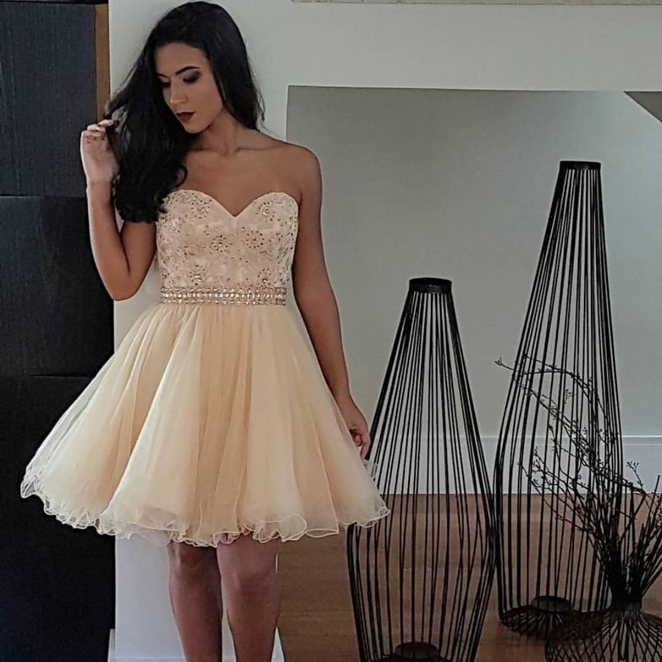 3ecc0e0914 Vestido de Festa Curto Debutante Dourado – Aluguel de Vestidos de ...