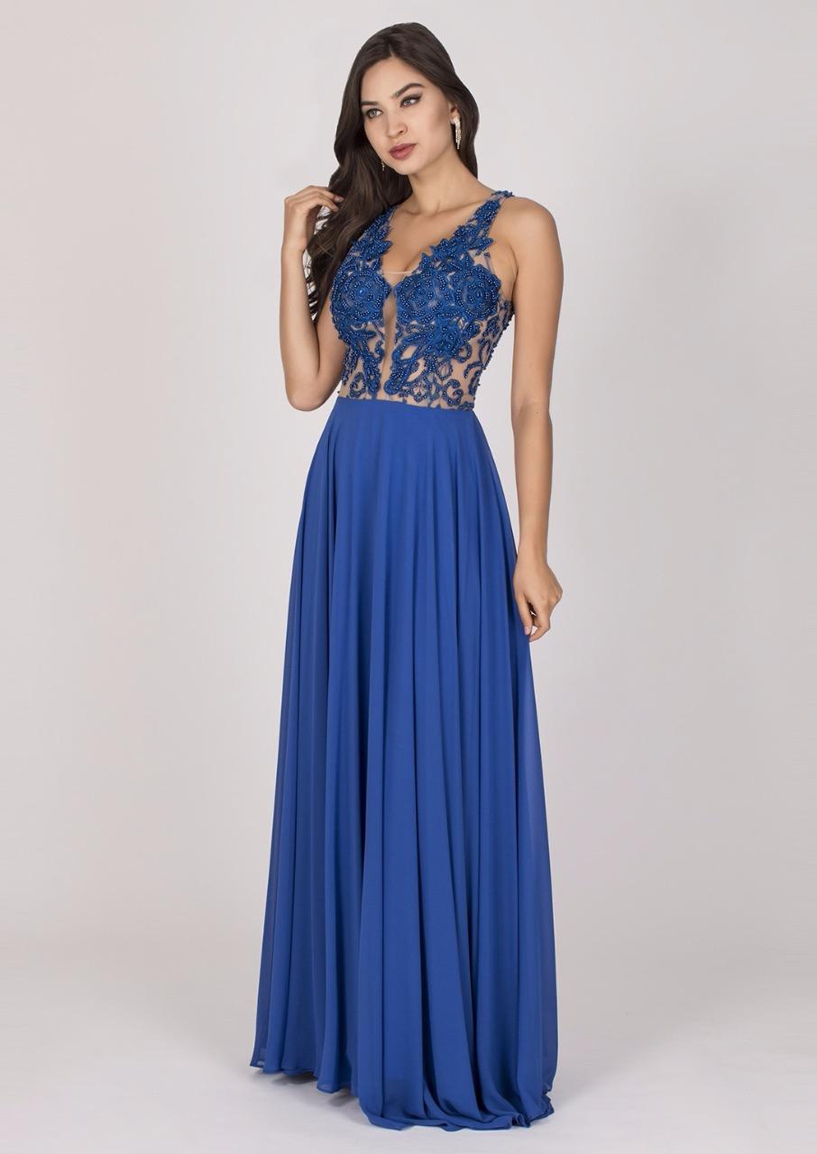 Vestido De Festa Azul Royal Com Bordado Delicado Aluguel