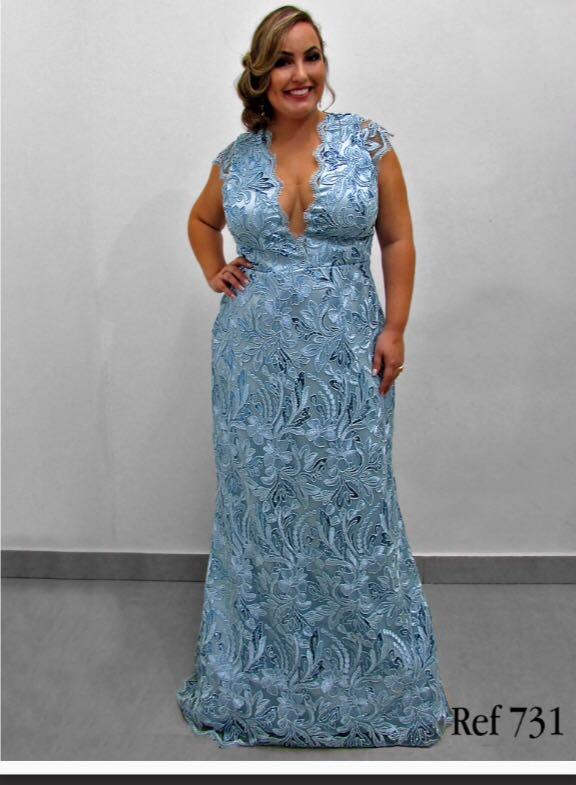 9c164c228 Vestido de Festa Azul Plus Size – Aluguel de Vestidos de Festa RJ ...