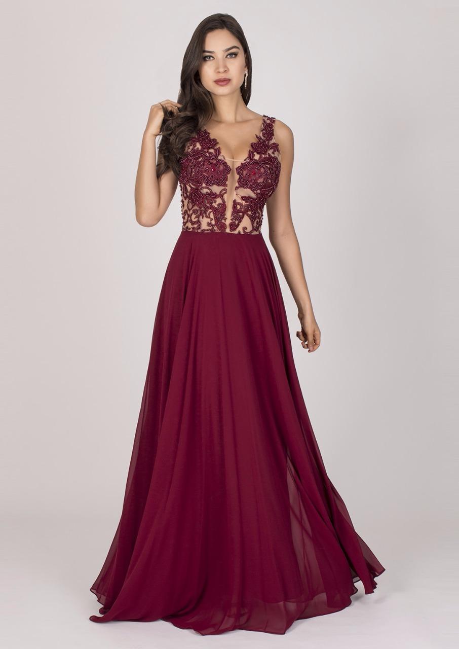 Vestido de Festa Marsala com Bordado Delicado - Fino Traje Moda Festa