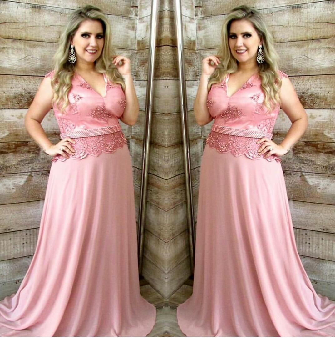Vestido de festa minimalista nude/rosa - Aluguel de