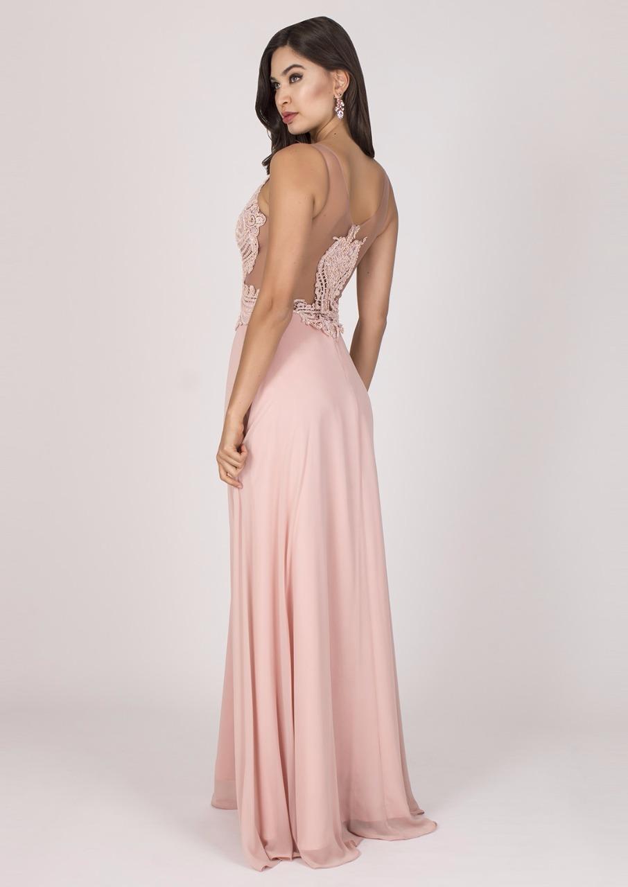 Vestido de Festa Plus Size com Fenda Rosa - Aluguel de