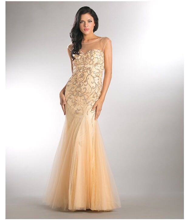 33f1106af04 Vestido de Festa Dourado/Nude Sereia – Aluguel de Vestidos de Festa ...