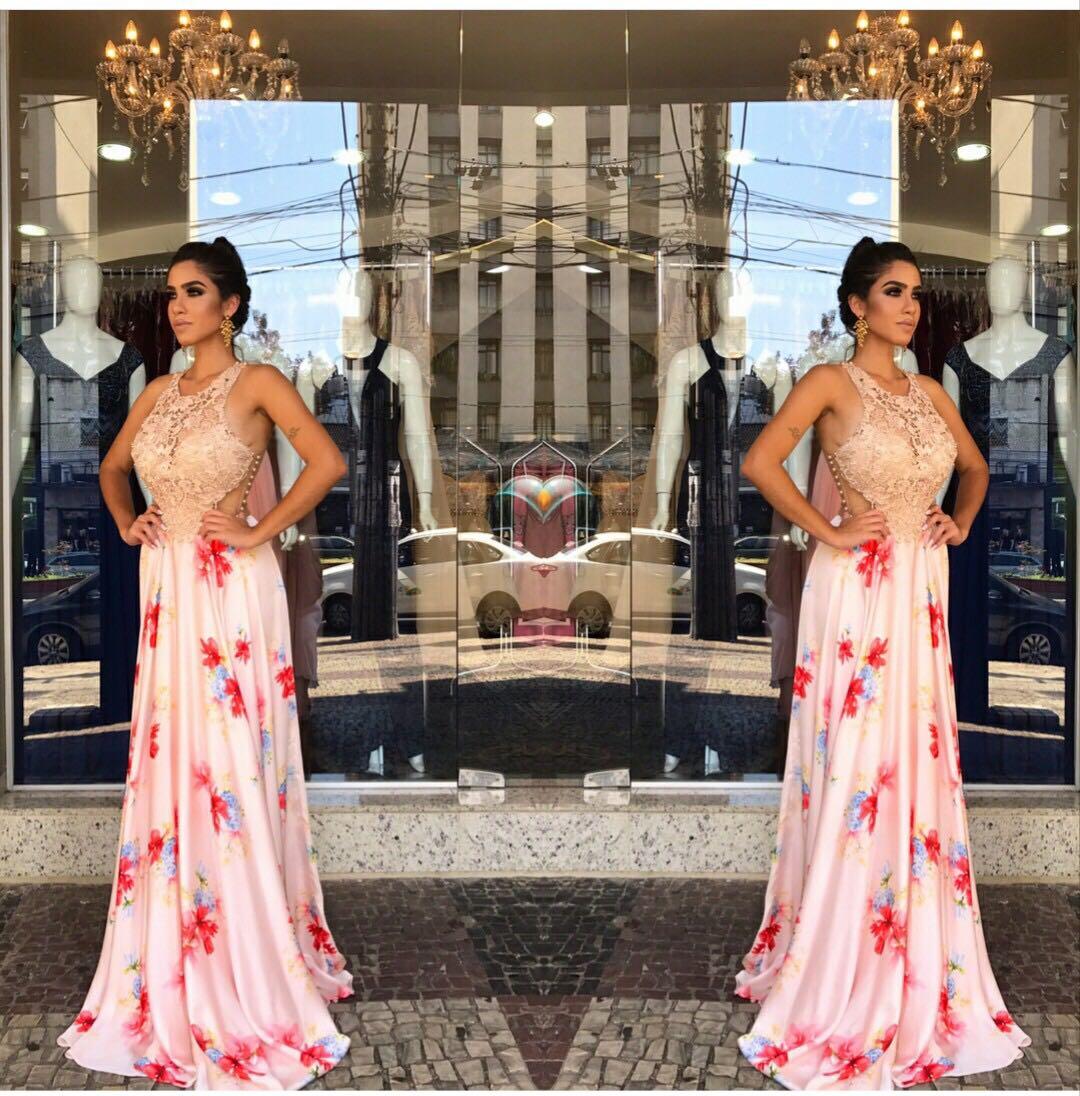 933c69f2c27 Vestido de festa estampado luxo - Fino Traje Moda Festa