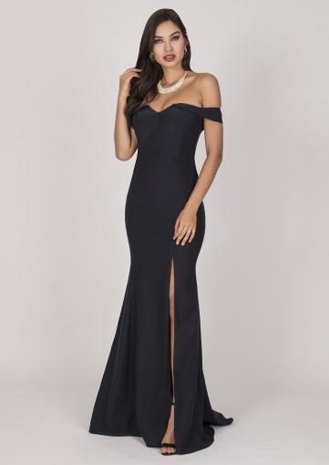 Bolsa De Festa Com Vestido Preto : Vestido de festa preto ombro a fino traje moda
