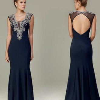 f90729ead Vestido de festa azul marinho com bordado prata · Aluguel de Vestidos ...