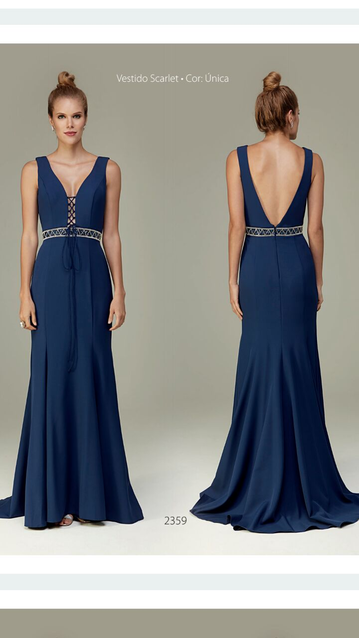 Vestido para festa azul marinho