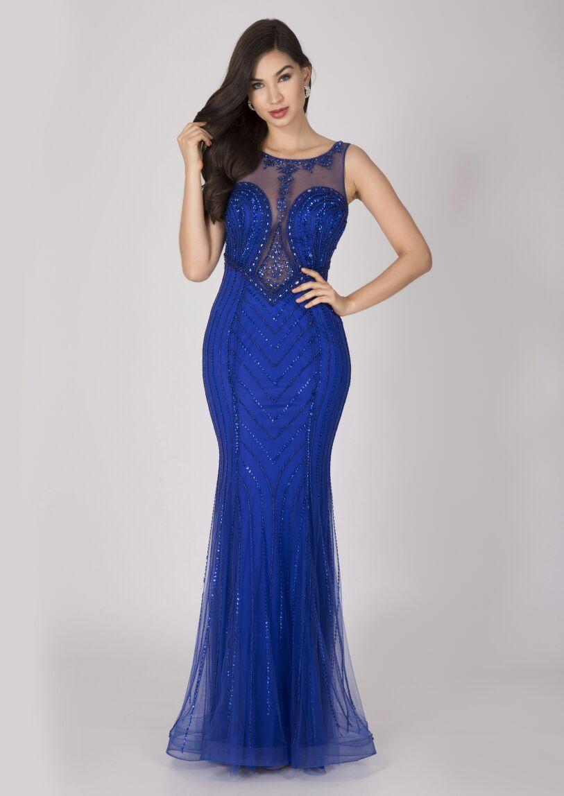 Vestido De Festa Azul Royal Bordado Aluguel De Vestidos De