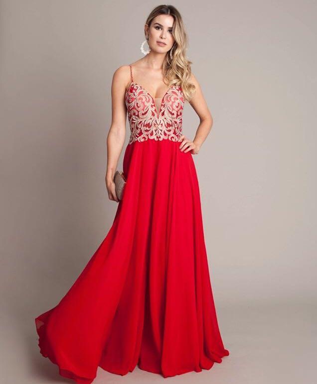 Vestido De Festa Vermelho Com Dourado Delicado