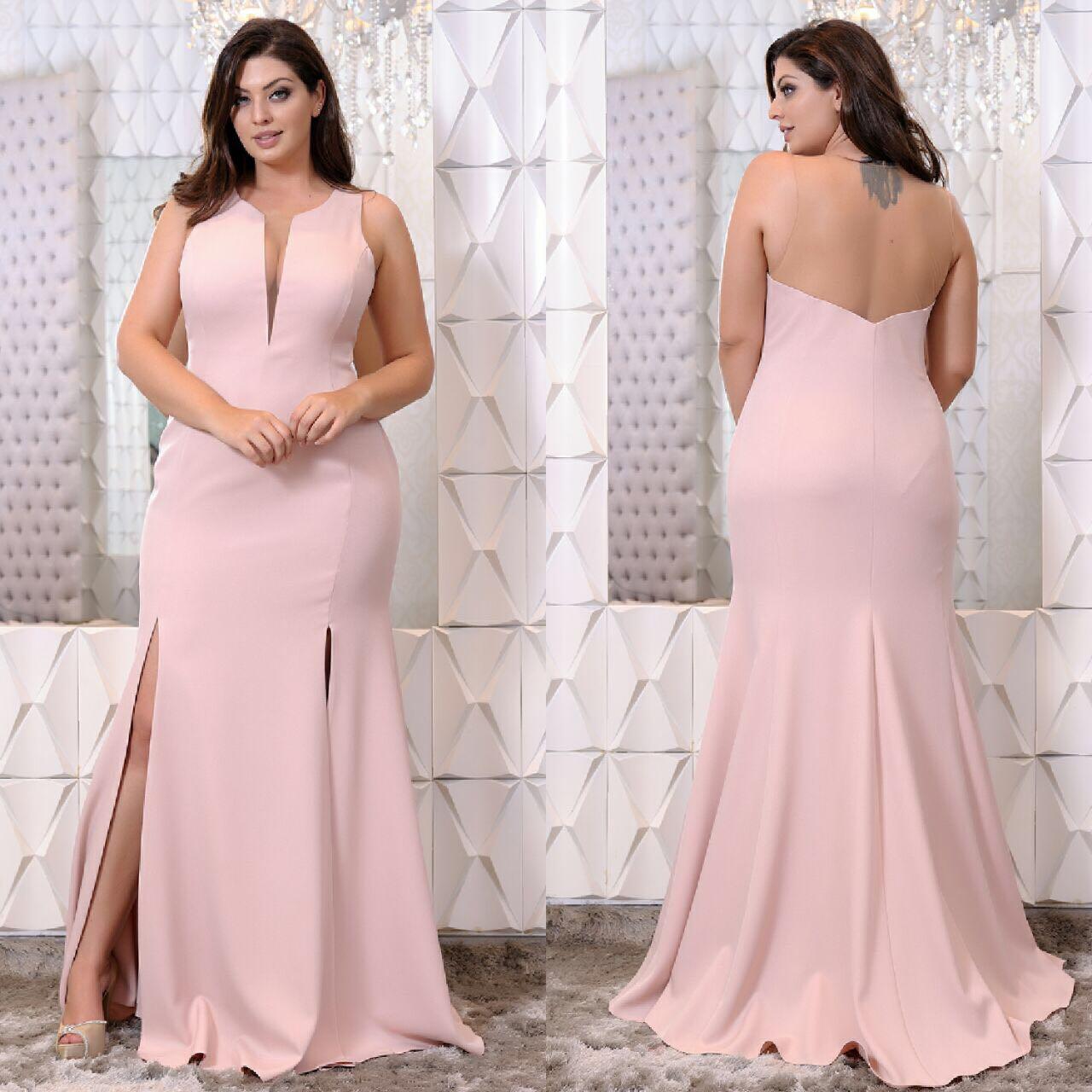 de547dd17 Vestido de festa minimalista nude/rosa Aluguel de Vestidos de Festa Longos  no RJ, Aluguel de Vestidos de Festa Plus Size no RJ