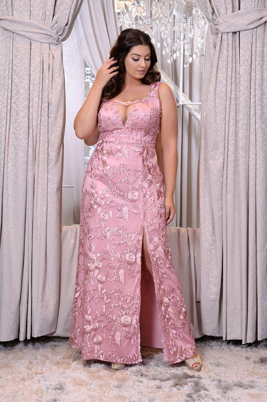 Vestido de festa nude plus size - Aluguel de Vestidos de