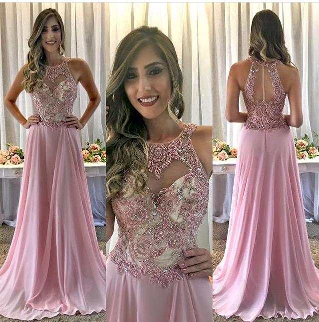 a27a766413 Vestido de festa rosa gola americana e bordado delicado – Aluguel de ...
