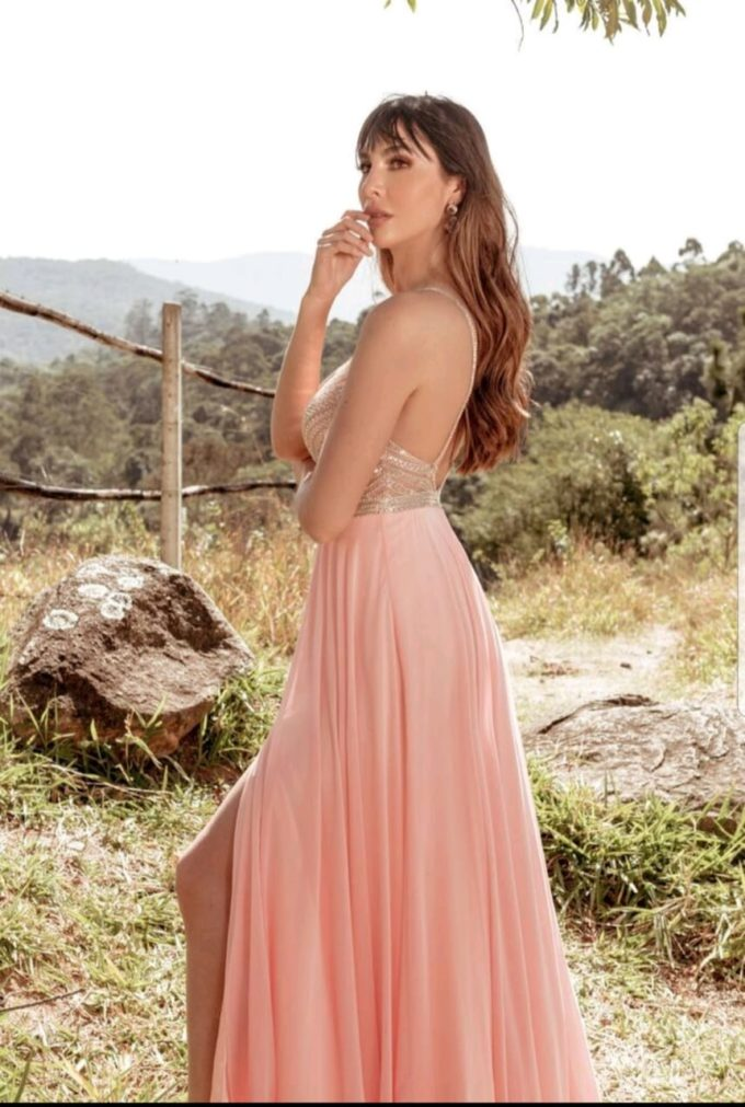 Vestido de Festa Rosa nude Com Bordado Delicado - Aluguel