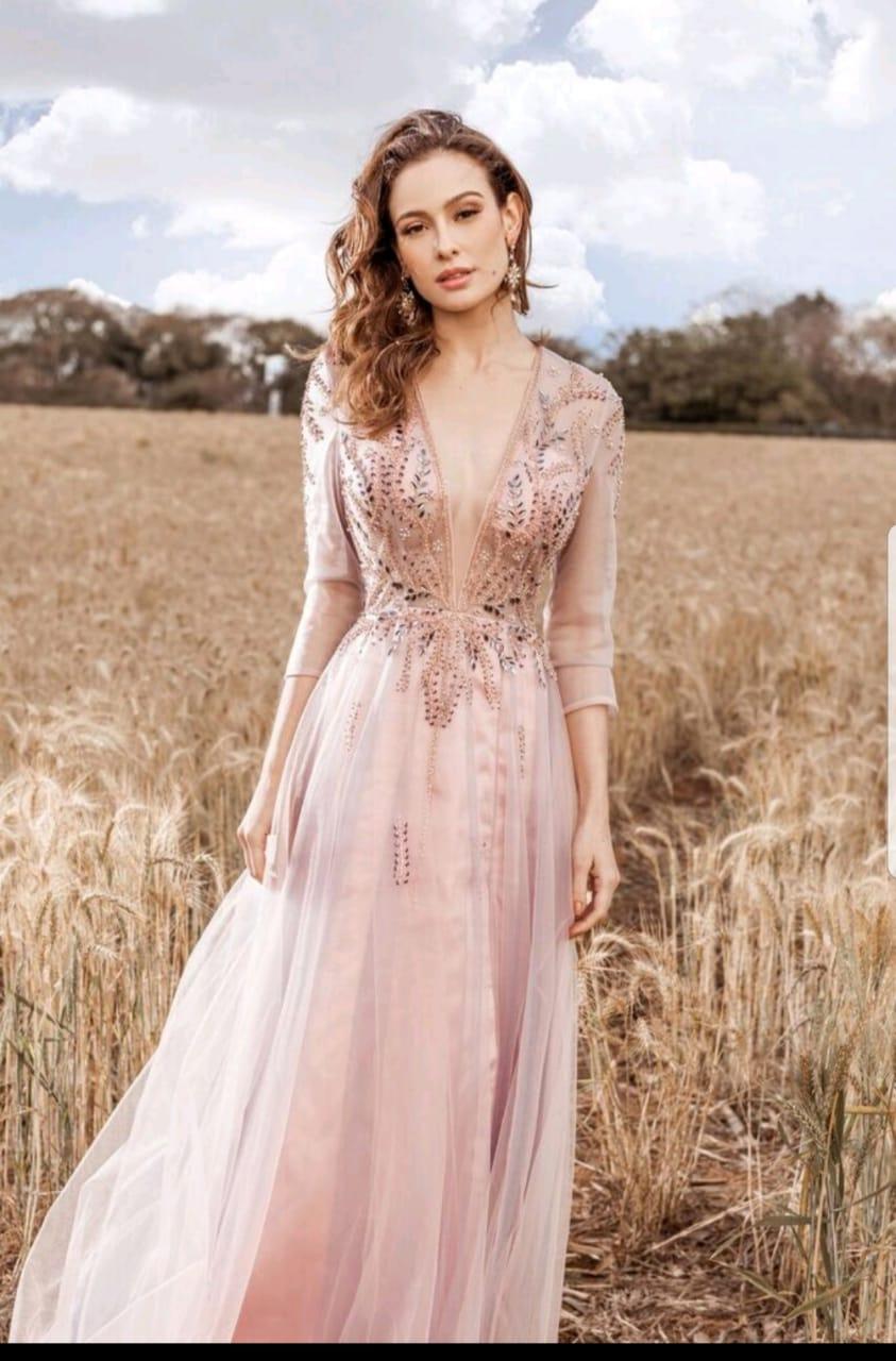 Vestido de festa rosa nude gola alta - Aluguel de Vestidos